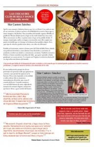Nota de prensa (papel) Las chicas del Club de Belly Dance, Mar Cantero Sánchez, Romantic Ediciones, jpg