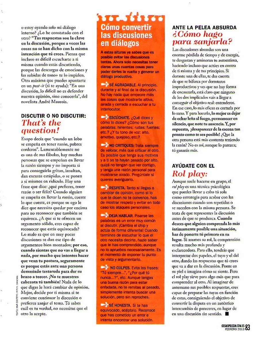 COSMOPOLITAN Nº 269, Sabes discutir, Pag 4, Mar Cantero Sánchez