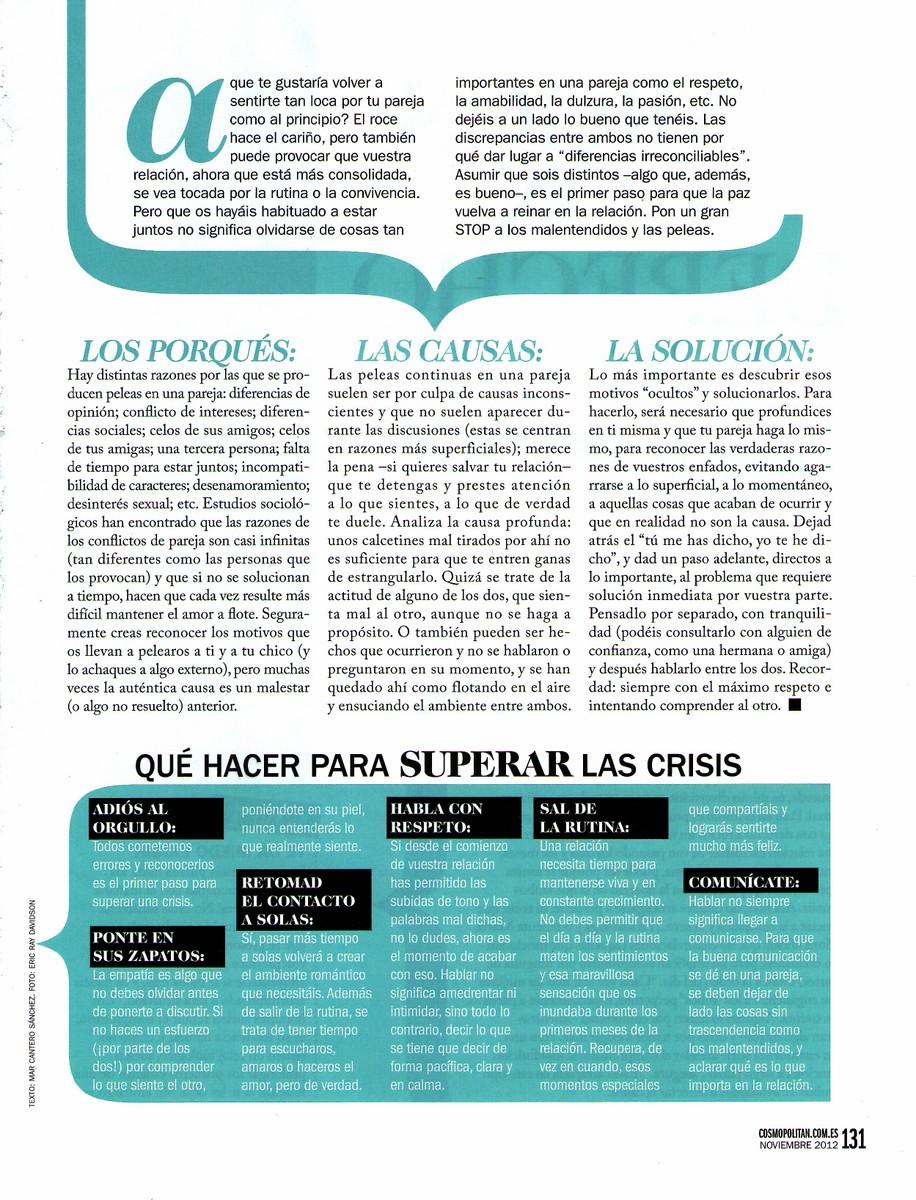 COSMOPOLITAN Nº 266, STOP PELEAS, pag 2, Mar Cantero Sánchez