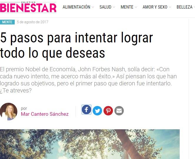 Mi nuevo artículo en la revista OBJETIVO BIENESTAR