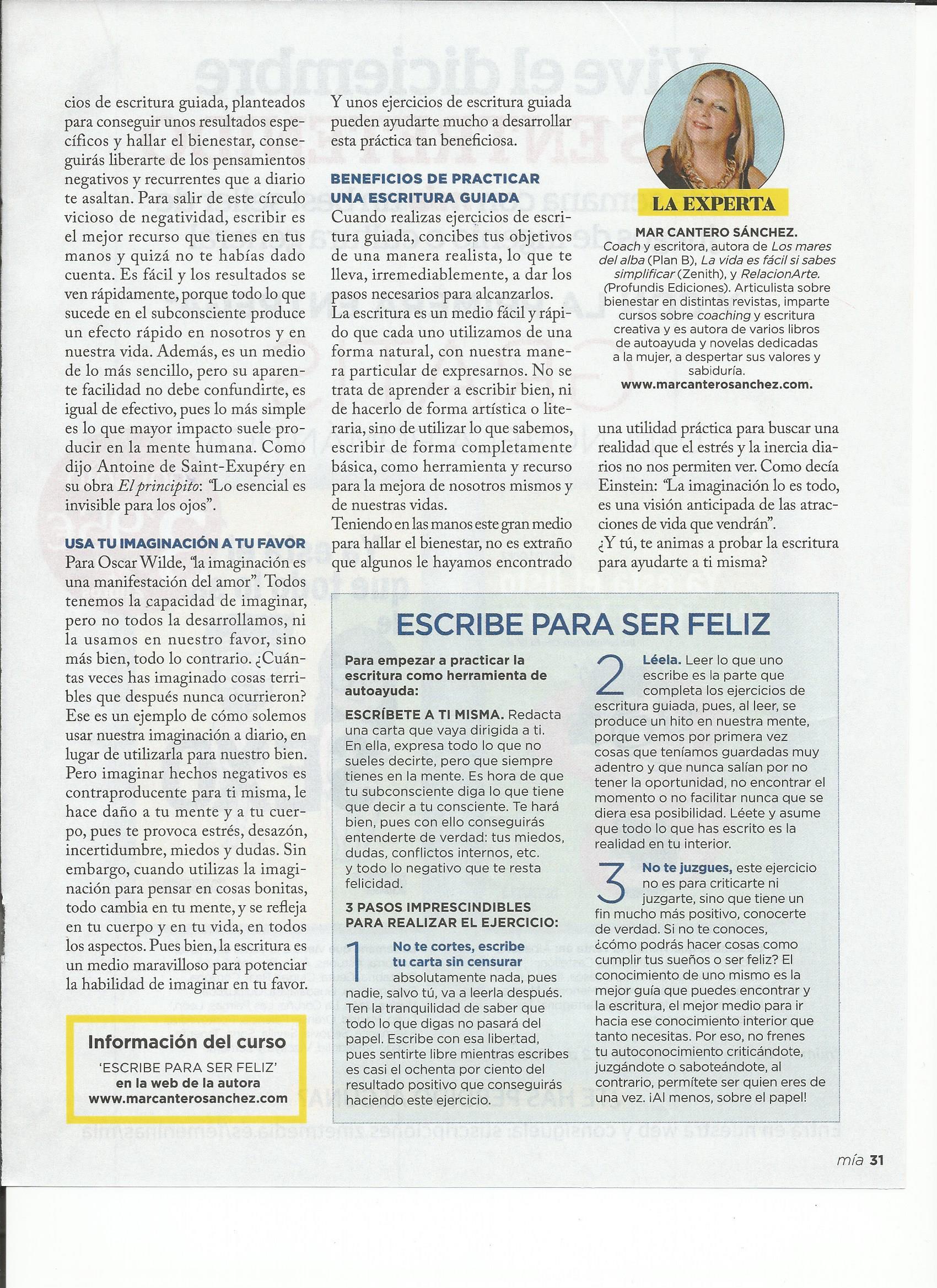 HALLAR EL BIENESTAR A TRAVÉS DE LA ESCRITURA, pag 2, INTEGRAL 5-2007, Mar Cantero Sánchez